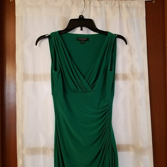 ralph lauren emerald green gown cable knit polo